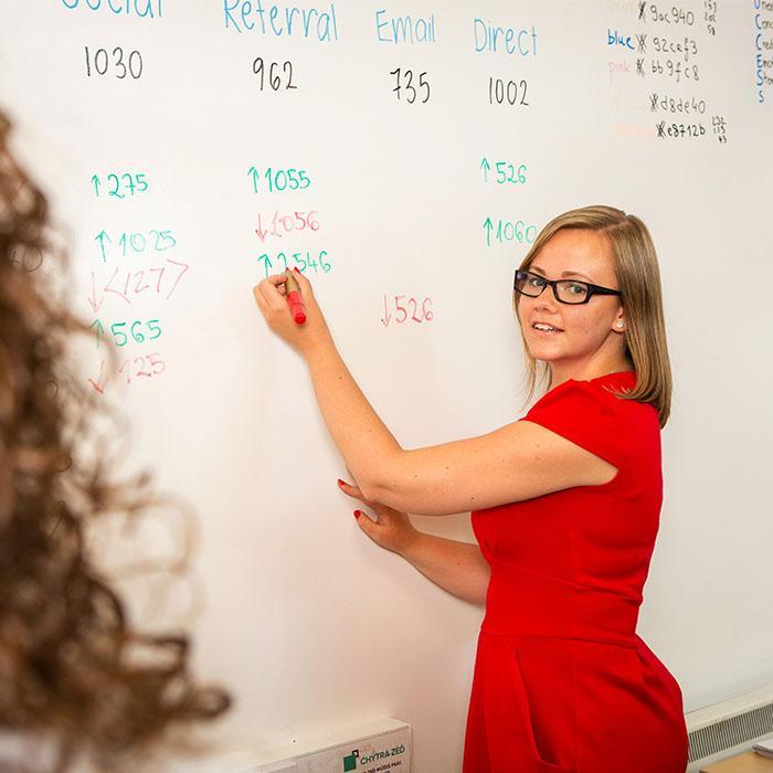 Donna che usa tinta lavagna cancellabile a secco muro bianco per scrivere i ricavi
