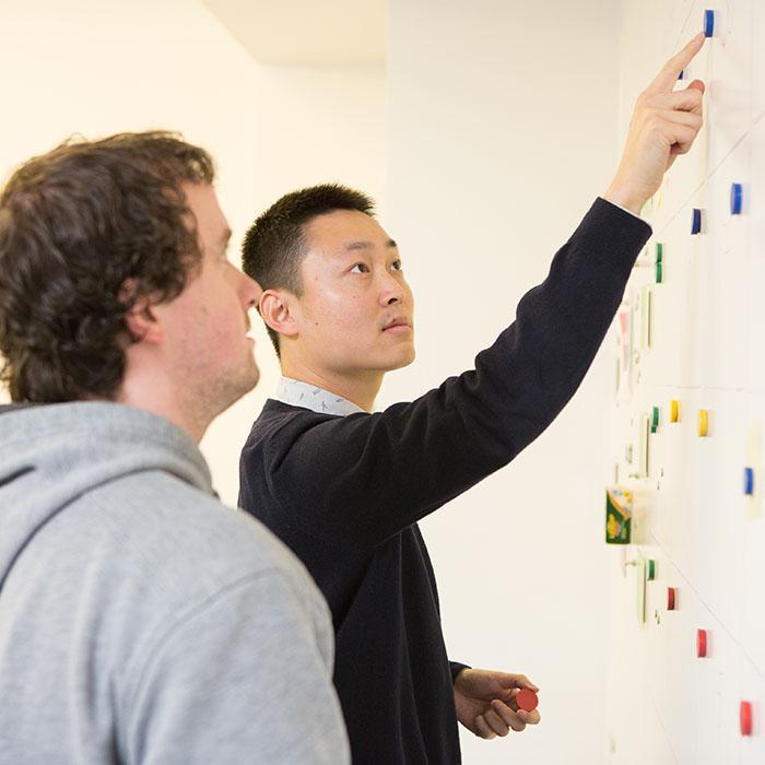 pianificare su muro magnetico in ufficio
