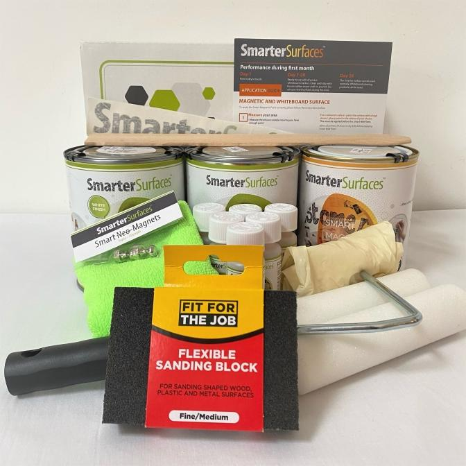 Pittura-Lavagna-Magnetica-Bianca-kit-completo-con-guida-di-applicazione