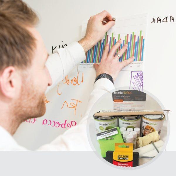 Pittura-Lavagna-Magnetica-Bianca-prodotto-in-uso-con-kit-completo