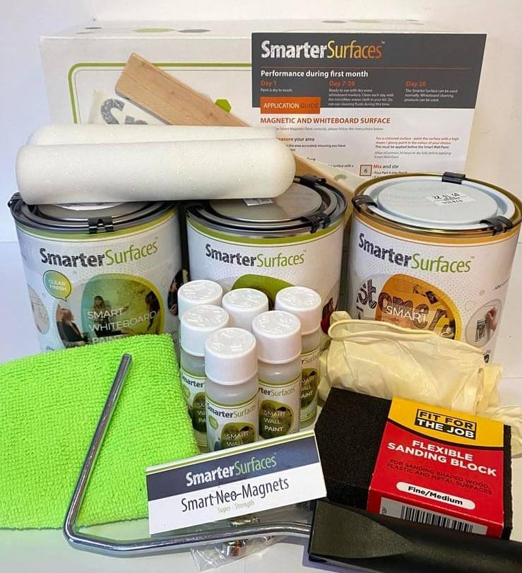 Pittura-Lavagna-Magnetica-Trasparente-kit-completo-con-guida-di-applicazione