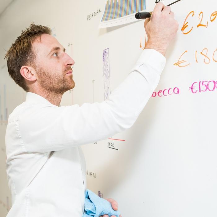 uomo che scrive su muro pittato con pittura magnetica e pittura effetto lavagna
