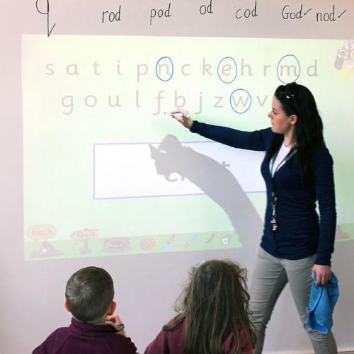 carta da parati lavagna e proiettore usata in una classe durante la lezione