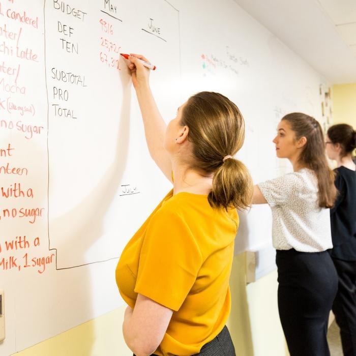 Ragazze che scrivono sul muro con carta da parati magnetica e scrivibile