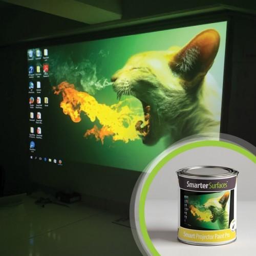 barattolo pittura proiettore pro con immagine proiettata sul muro dietro