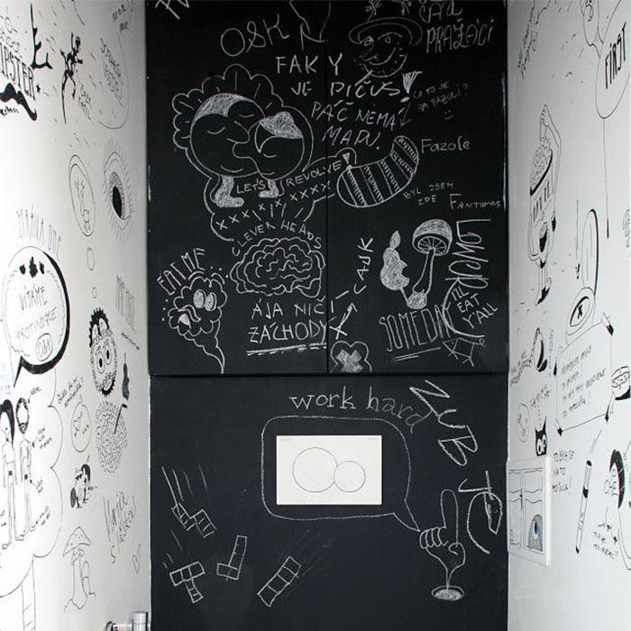 muri con pittura lavagna nera con scritte a gessetto